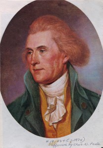 This is a portrait of the third President of the United States Thomas Jefferson. He was born on Tuesday, April 16, 1743, and died on Tuesday, July 4, 1826.  Jefferson was the principal author of the Declaration of Independence.  This portrait was painted by Charles Willson Peale.  (AP Photo)